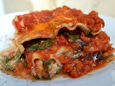 VITALIA Blog Rezept Linsen Spinat Lasagne
